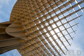 Architectural detail of Metropol Parasol building in Seville, Spain.