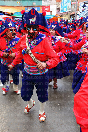 San Andrés llamerada group dancing at Oruro carnival, Bolivia