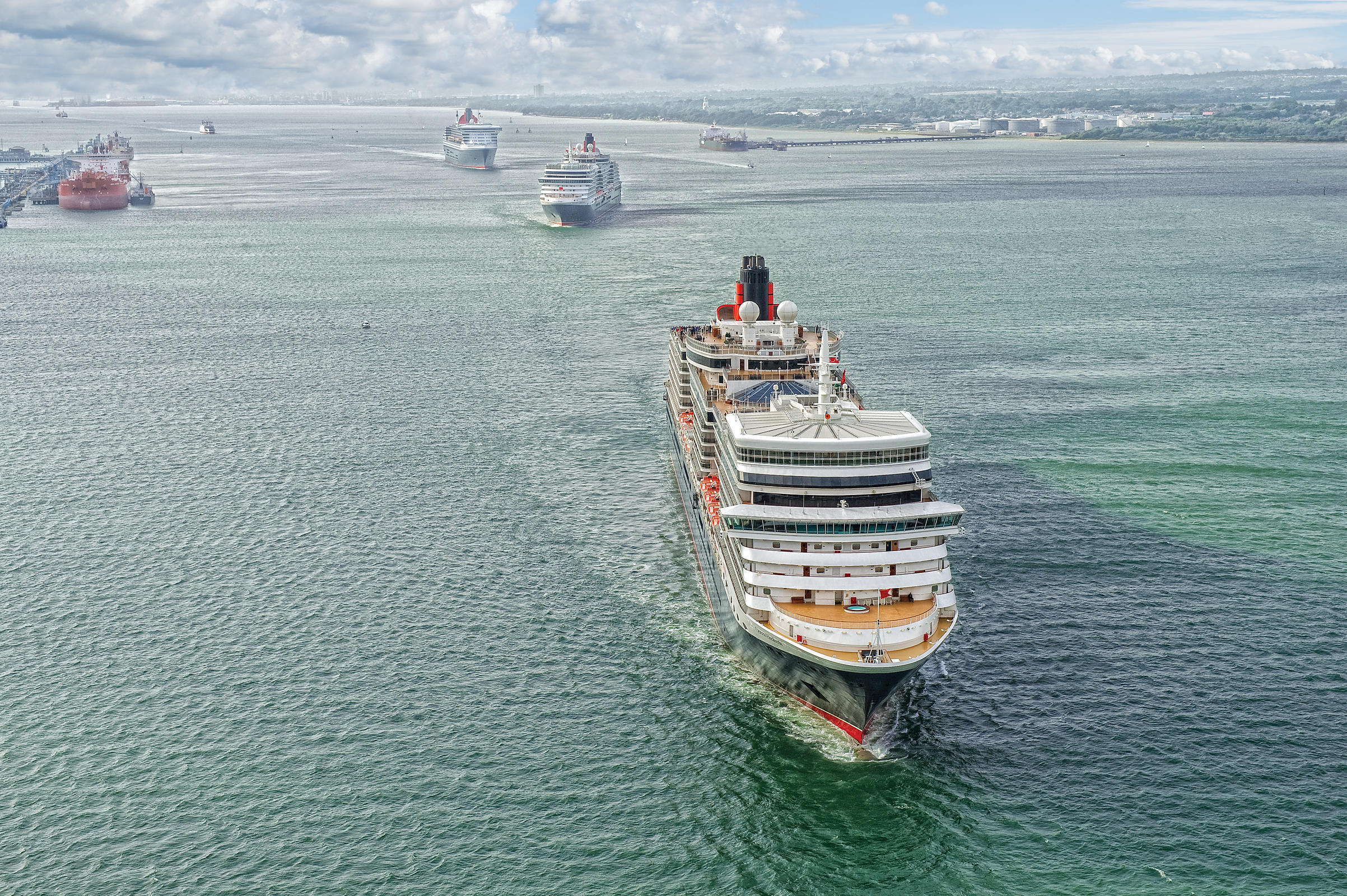 Aerial View of Cunard's Three Queens leaving Southampton together for the First tIme