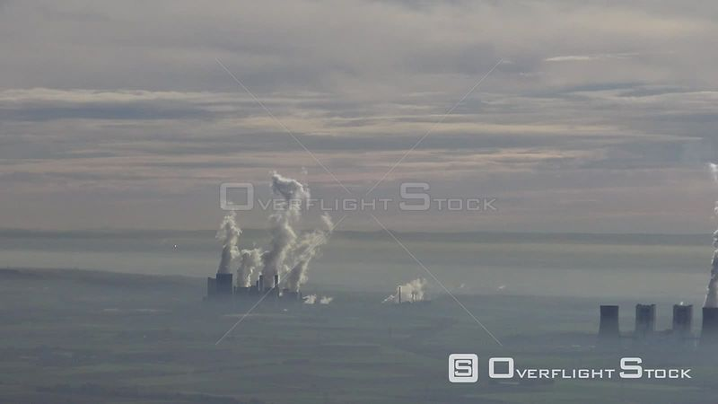 Ensemble of the cogeneration plants and exhaust towers of RWE Kohle- Kraftwerke near Frimmersdorf, Neurath and Niederaussem i...