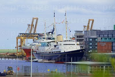 The Royal Yacht Britannia berthed at Leith next to the Ocean View Shopping Centre
