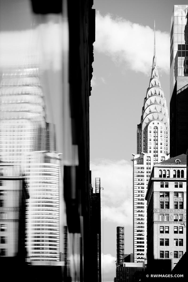 MANHATTAN NEW YORK CITY ARCHITECTURE CHRYSLER BUILDING TOWER BLACK AND WHITE VERTICAL