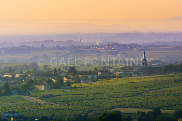 Village of Saint Etienne des Oullieres at sunrise, Beaujolais land, France