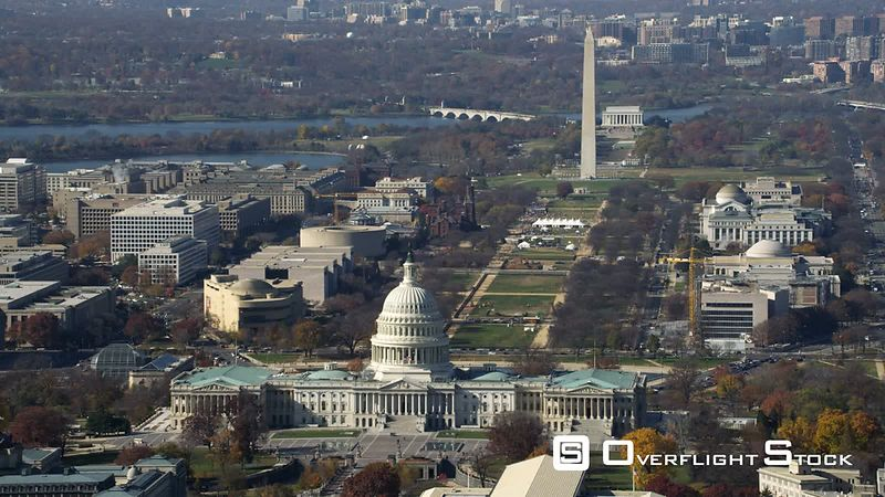 Past the Capitol Building, looking down the National Mall to Lincoln Memorial. Shot in November