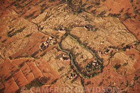Aerial photograph of an Ethiopia village with fields