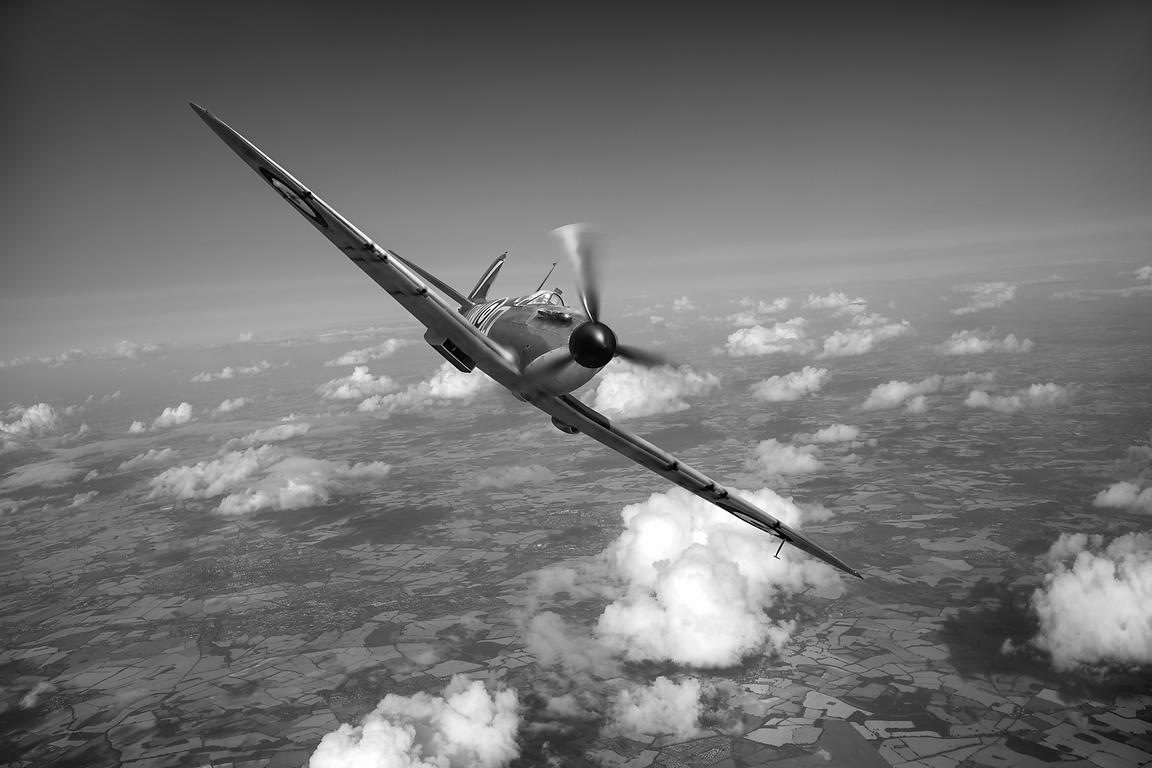 Battle of Britain Spitfire black and white version