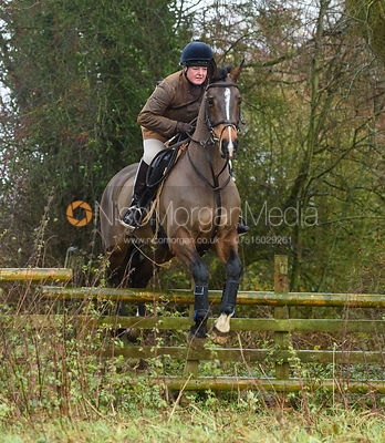 Caroline Harrison jumping a hunt jump in Holwell. The Belvoir Hunt at Hill Top Farm 1/12