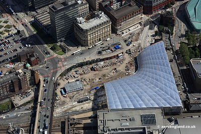 aerial photograph showing the reconstruction of Victoria Station   Manchester  England UK.