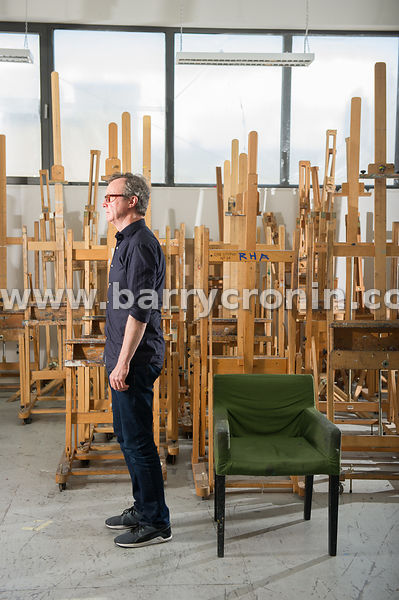 10th July, 2015.Royal Hibernian Academy artist in residence artist Mick O'Dea photographed with his favourite working chair.P...