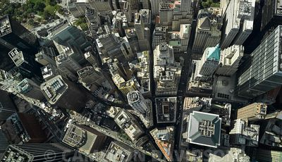 Aerial of Wall Street, New York City financial Dsitrict