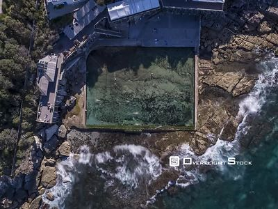 Coogee Drone Rock Pool Time Lapse Sydney Australia. Long Exposure Drone Time Lapse using high Rated ND Filters of Swimmers at...