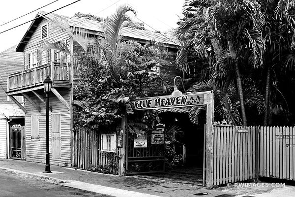 BLUE HAVEN BAHAMA VILLAGE KEY WEST FLORIDA BLACK AND WHITE