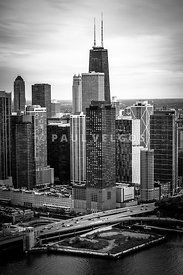 Chicago Aerial View in Black and White