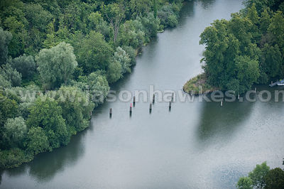 Aerial view of Boulters Lock Weir, River Thames, Berkshire