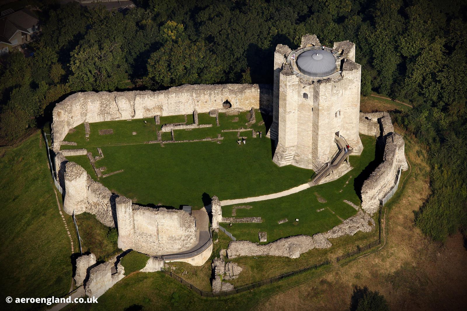aerial photograph of Conisbrough Castle Yorkshire England UK
