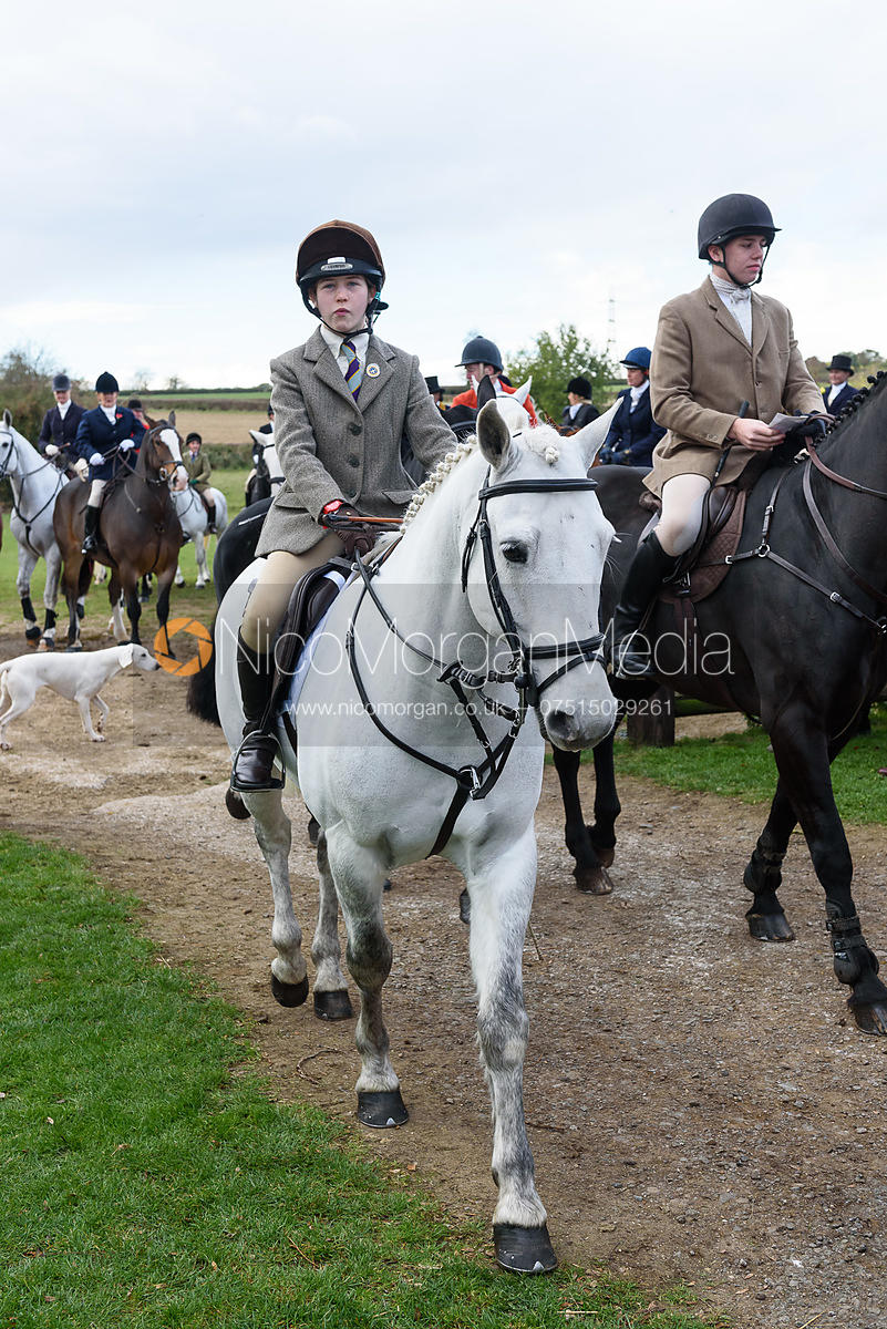 Eliza Culloty leaving the meet. Quorn Hunt Opening Meet 2018