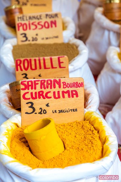 Assortment of spices at local farmers market, Provence, France