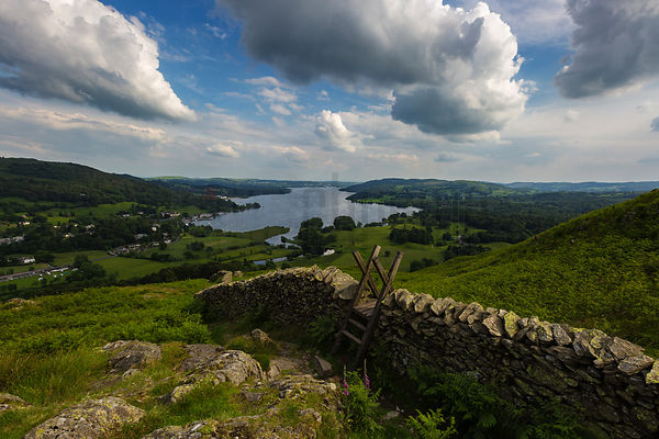 Wooden Stile over a Drystone Wall above Lake Windermere