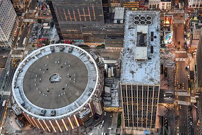 Aerial New York City Madison Square Garden