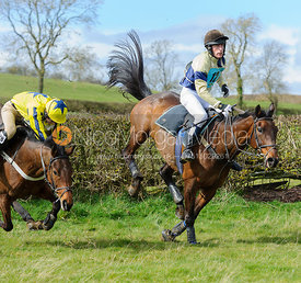 Greg Walters and Dominic Gwyn-Jones jumping the last hedge - Harborough Ride 2014