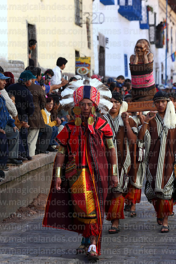 Inca official parades with mummy during processions for Inti Raymi festival , Cusco , Peru