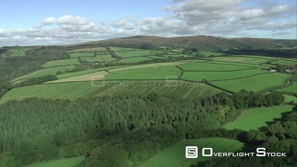 Aerial tracking shot looking towards Haytor, Dartmoor National Park, Devon, England, UK, October 2015.