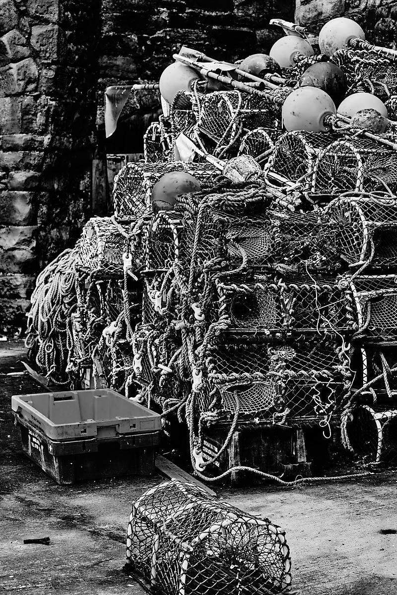 Lobster pots stacked (B&W)