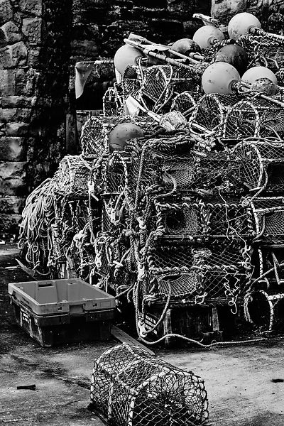 Lobster pots stacked (Black and White)