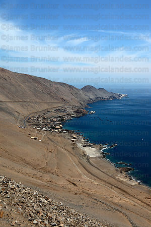 View over former port of Pisagua to Punta Pichalo , Region I , Chile