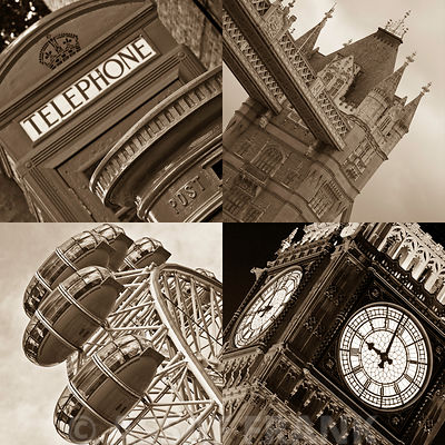 Collage of famous places in London city