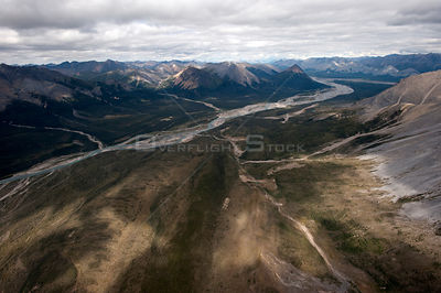 Aerial view of the Mackenzie Mountains, Northwest Territories, Canada