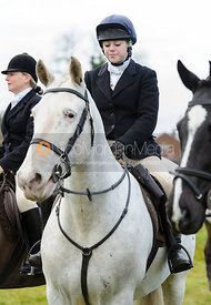Becci Woolley at the meet - The Cottesmore Hunt at Castle Bytham
