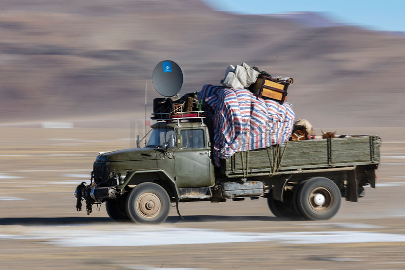 Russian Truck Loaded with Nomad Family's Posessions