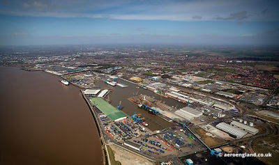 aerial photograph of the Port of Hull docks in  Kingston upon Hull England UK.