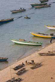 Fishing boats on the shore of Lake Tanganyika, .Gombe Stream Reserve, Tanzania
