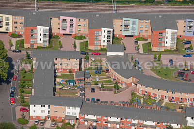 Aerial view over housing estate