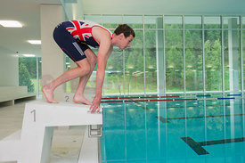 Alistair Brownlee, Triathlon Olympic Medalists in London 2012 enjoy the training facility OVAVERVA in St.Moritz,