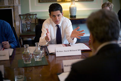 UK - London - David Miliband at a government meeting with the Pakistani Foreign Minister