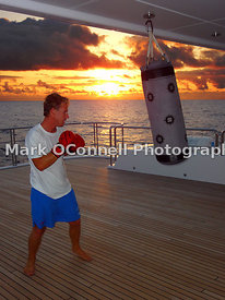 Boxing at sunset