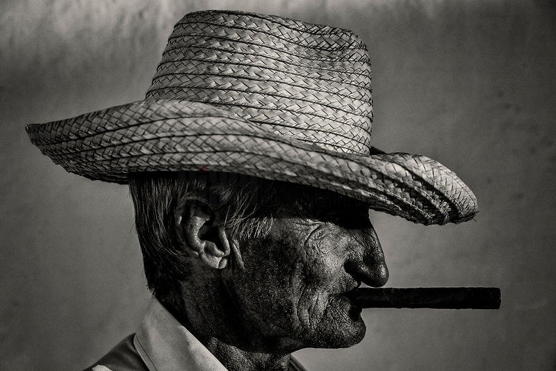 Profile of a Farm Worker with a Cigar