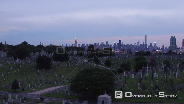 View of New York City from Cemetery Maspeth NY