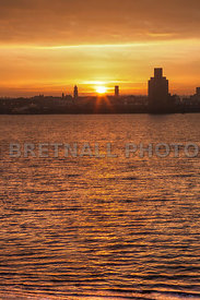 Sunset Over Birkenhead and River Mersey