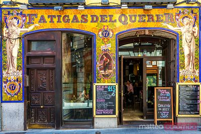 Typical restaurant shopfront in the city centre, Madrid, Spain