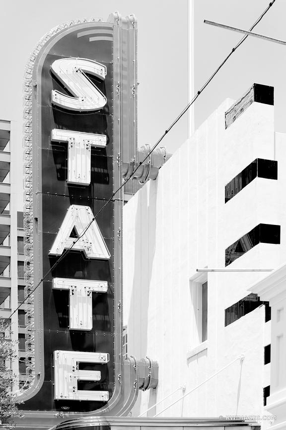 STATE THEATRE SIGN AUSTIN TEXAS BLACK AND WHITE