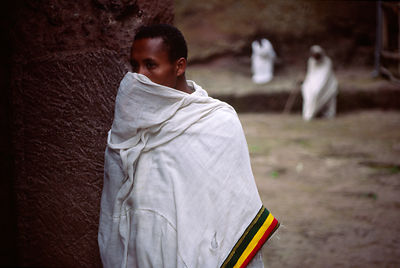 Ethiopia - Lalibela - A monk at dawn at Lalibela