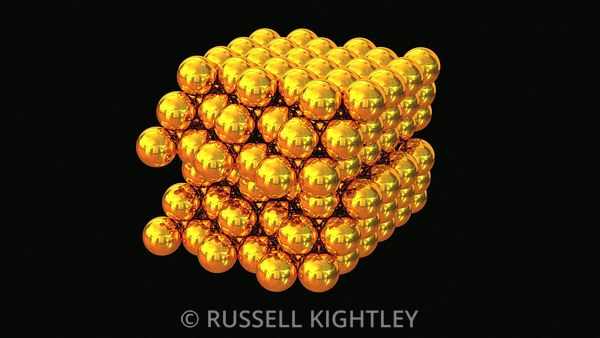 Gold atoms in a crystal