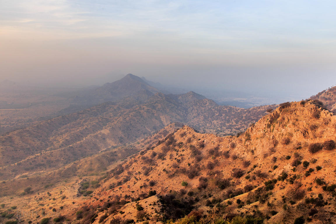 Aravali Range from Pachmantha Mataji mountaintop temple, near Majhewla village, Rajasthan, India