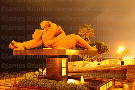 """El Beso"" sculpture in Parque del Amor / Park of Love at night, Miraflores, Lima, Peru"