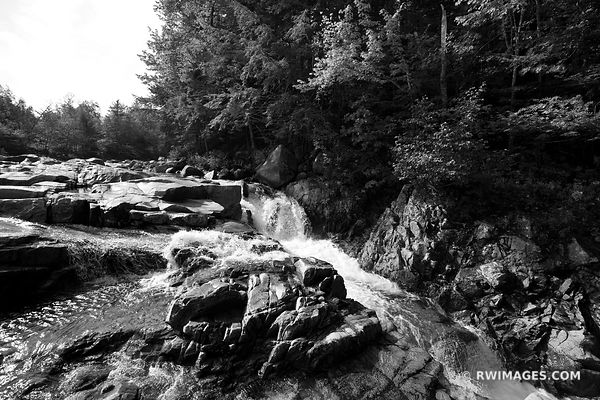 LOWER FALLS SWIFT RIVER KANCAMAGUS HIGHWAY BLACK AND WHITE NEW HAMPSHIRE LANDSCAPE