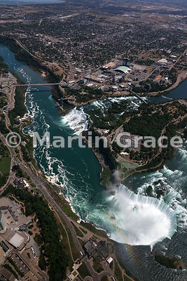 Niagara Falls from the south-west, from the air, Canada and USA